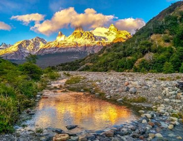 sunset over river in Patagonia