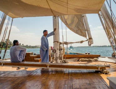 on the deck of a sail boat in Egypt