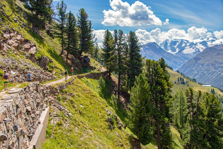 Hiking near Pontresina, Switzerland.