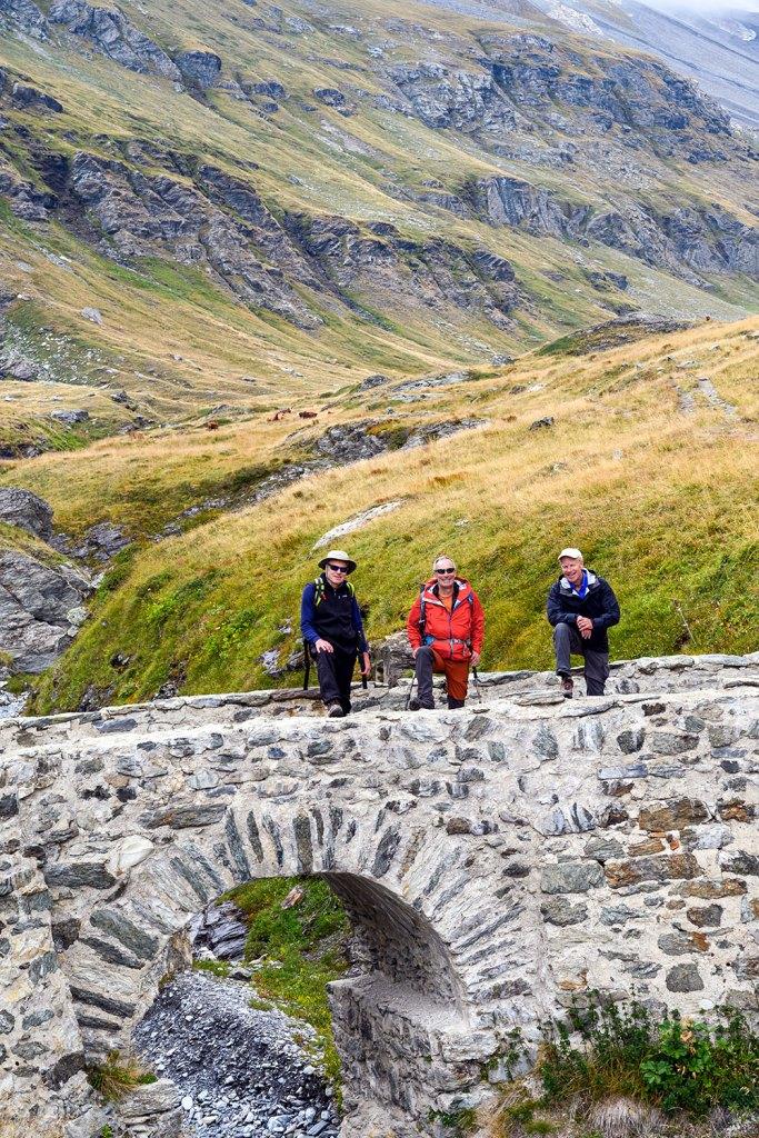 group on bridge on mont blanc to mediterranean