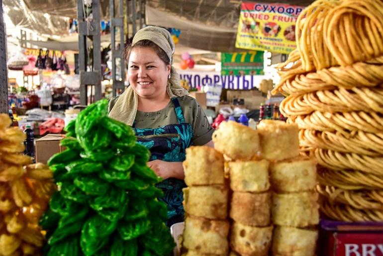 woman in market in Kyrgyzstan