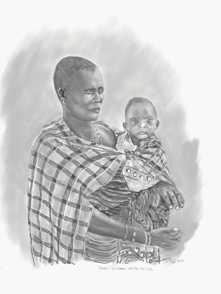 Tanzania artwork safari sketch of woman and child