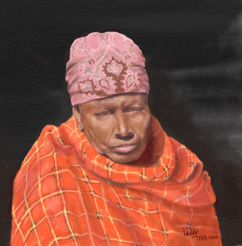 Tanzania artwork safari sketch of woman