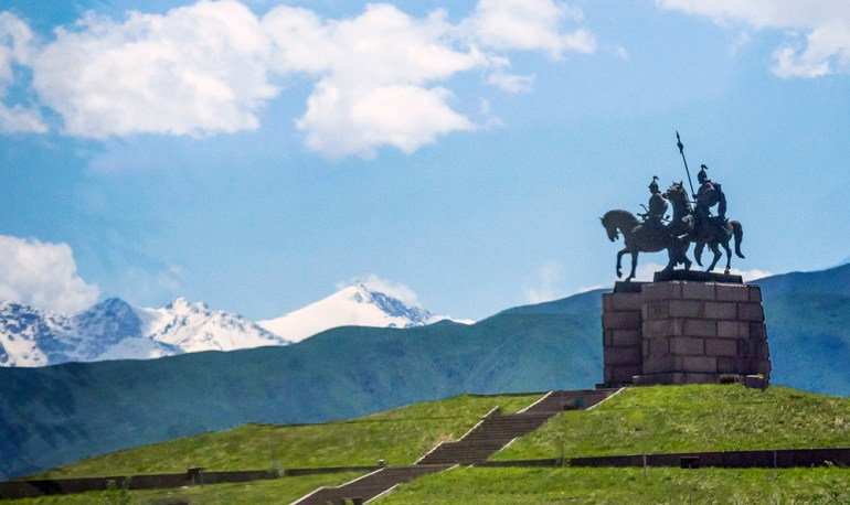 horse monument in central asia