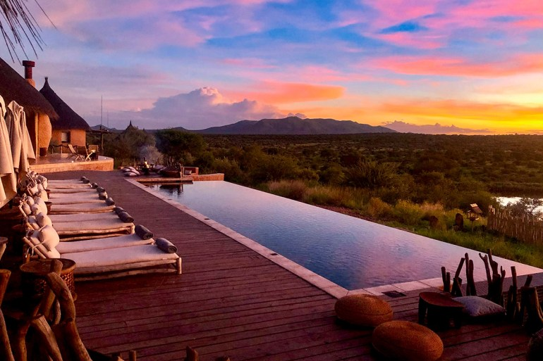Namibia green season lodge sunset