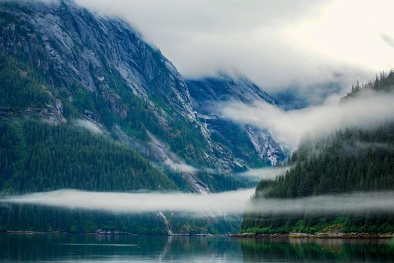 alaska inside passage fog and cove
