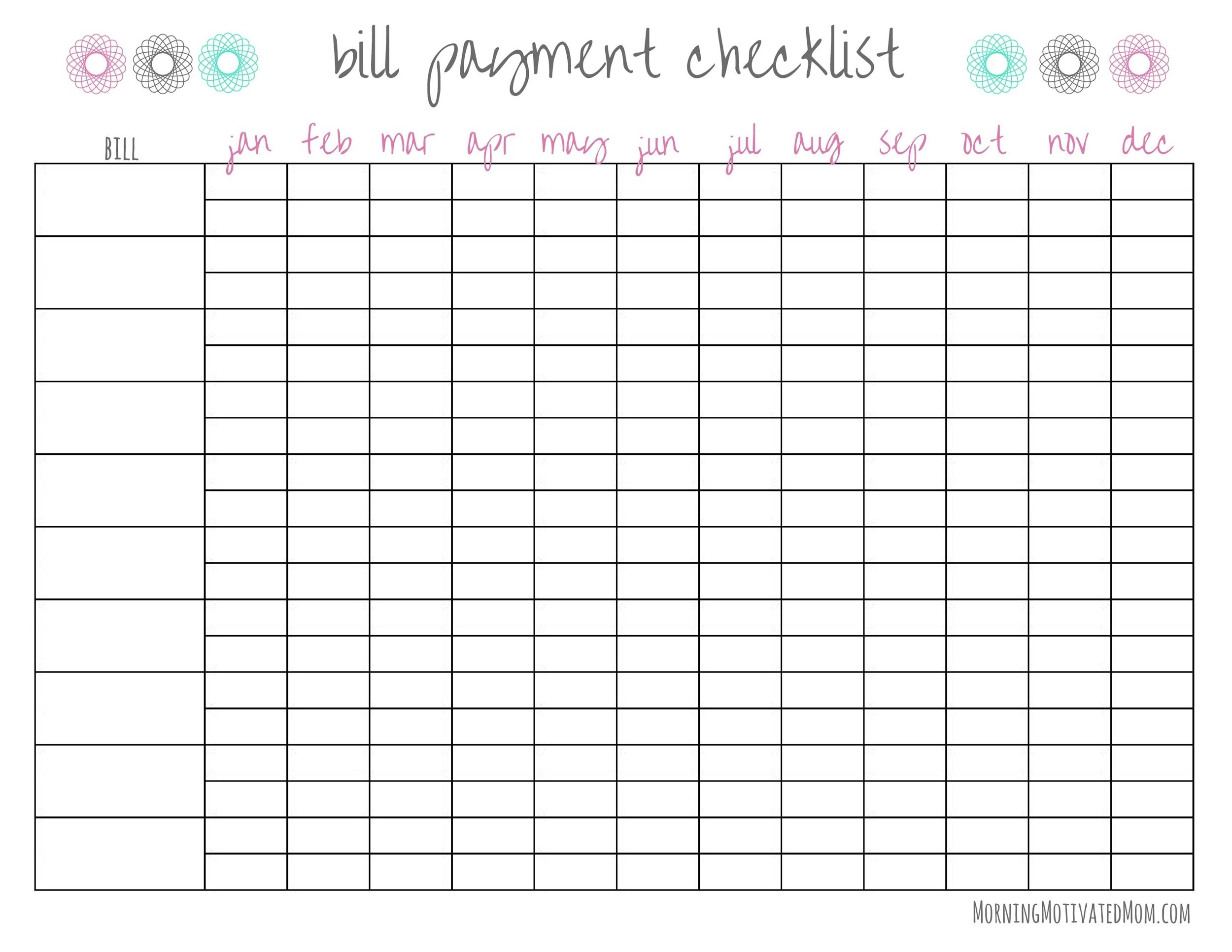 Free Printable Blank Monthly Bill Payment Worksheet