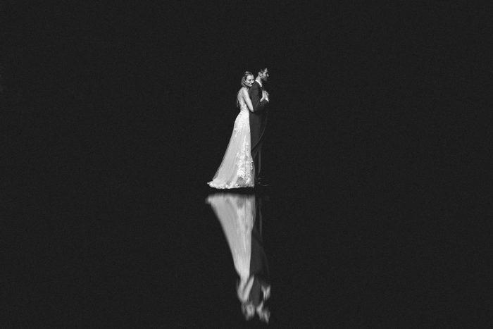 black and white reflection wedding