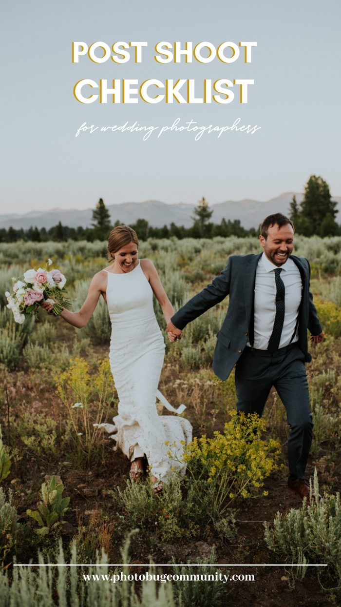 post shoot checklist for wedding photographers graphic