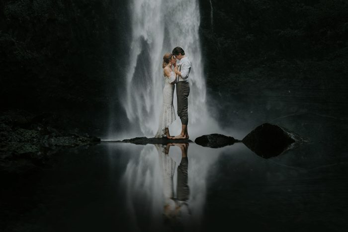 waterfall wedding portrait december 2020