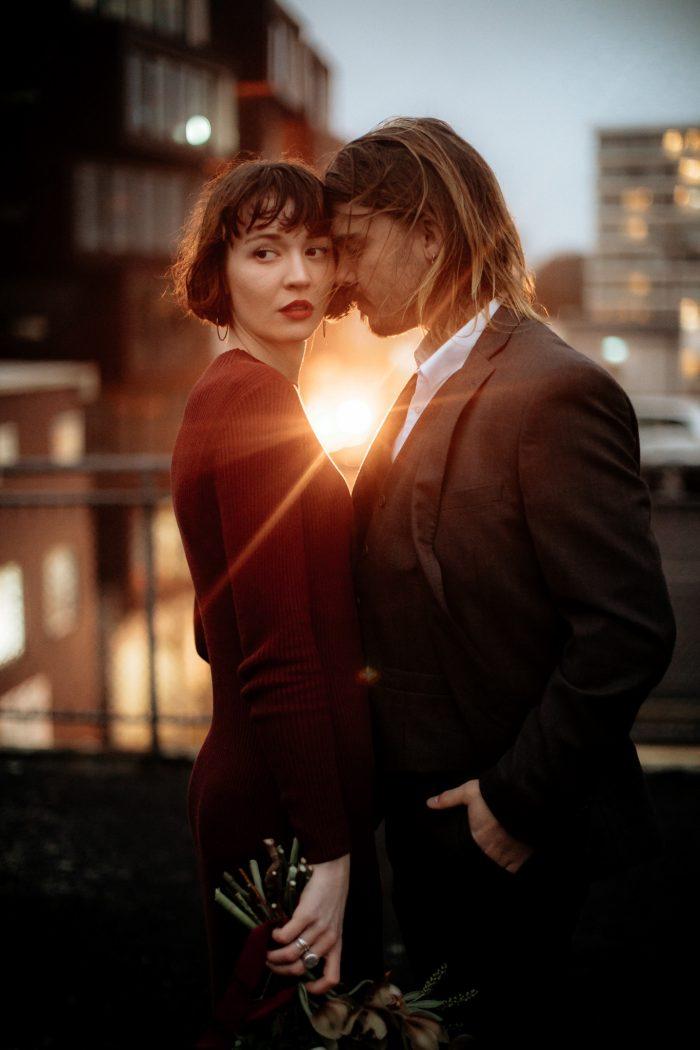couple on city balcony