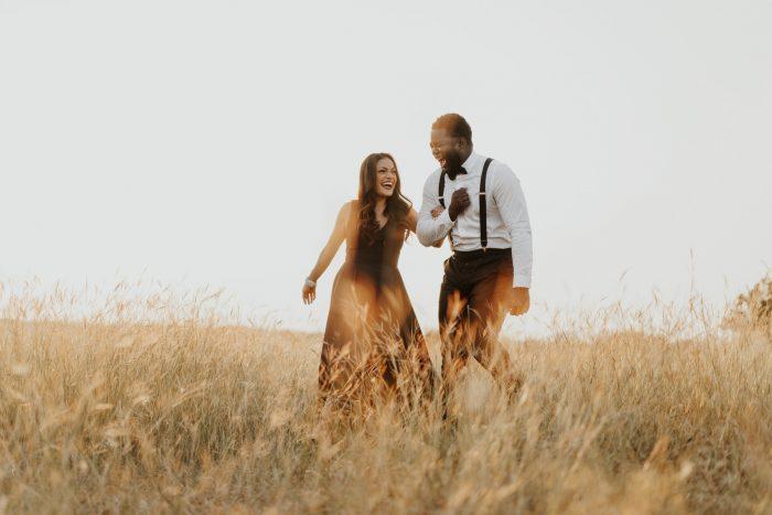 couple in formal attire in field