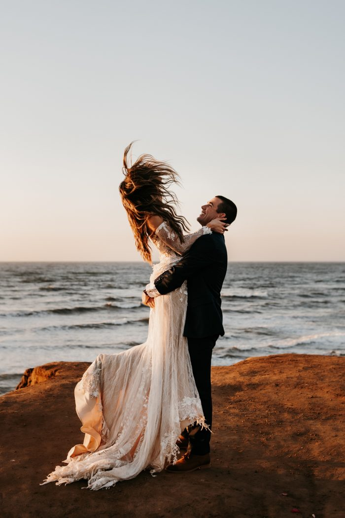 Top March Pic wedding portrait by ocean