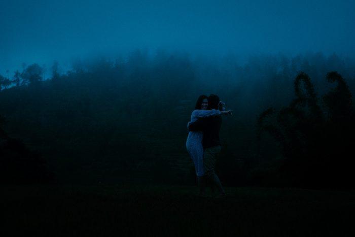 deep blue hour photo of couple