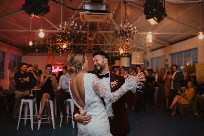 reception photo married couple dancing