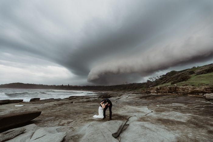 storm warning wedding photo