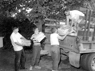 G'town Boy Scout Paper Drive Lowell Webber, Mike Dougherty, Gerald Lasher, Frank Heller driver 1964