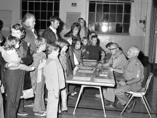 Scout Troop 102 & Cub Pack 101 canvas meeting Greenport School 1975