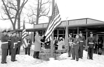 Hudson V.F.W. and  Auxiliary flag dedication at John L. Edwards School 1965 (1)