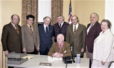 Hudson Mayor Paul Colwell with Cabinet Members 1976