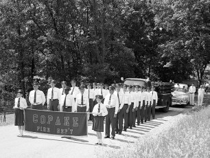 Copake Fire Dept. marching in Ancram Parade 1957