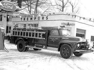 Milan Fire Dept's 1954 Ford Fire Truck at Tremper's Garage Red Hook 1955