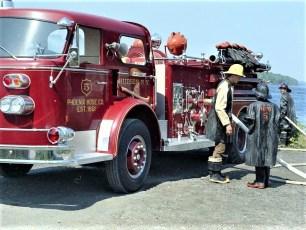 Hudson Fire Dept. #5 Phoenix testing pumps at the Hudson 1966 (2)