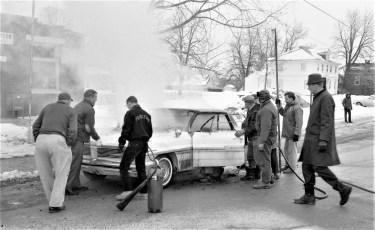 G'town Fire John Hudson's car Main Street Feb. 1965 (1)