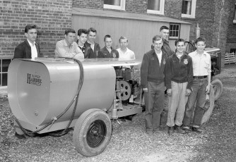 GCS F.F.A. students with their new spray rig 1956
