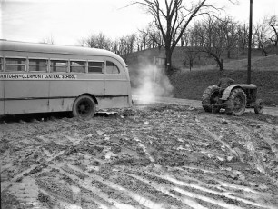 GCS bus in mud Rt 9G March 1950