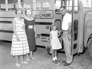 Three Generations rode Jay's bus to GCS Mrs. Sherman, Mrs. John Sharpe & now Betsy Sharpe 1959