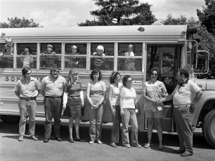McLean & Sons bus driver service awards G'town 1975