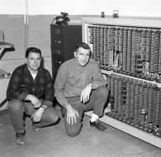 G'town Telephone Co. Al Mastro & Donald Bohnsack with mainframe 1963