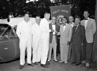 Roe Jan Lions making donation to Copake Fire Co. for new ambulance 1957 (1)