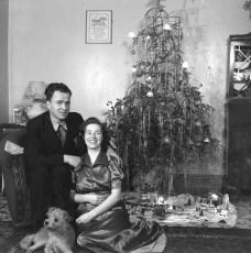 Howard, Florance & dog Sandy 3rd Xmas together Bellerose 1940