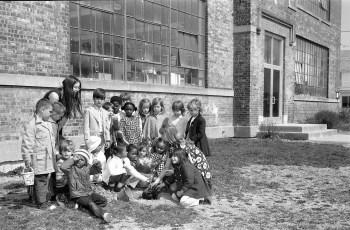 Students Planting a Tree at Charles Williams School Hudson 1972