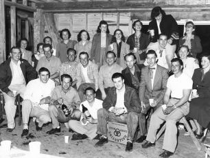 Warren Bohnsack's basement housebuilding party 1953