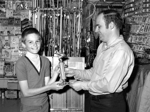Brian Dembosky winner of trophy at Ralph's Sport Center 1969