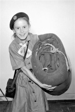 Colleen Brown of G'town off to Girl Scout Camp Little Hotch 1964
