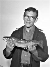Edward DeWitt with 20 in. brown trout 1968