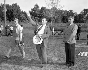 G'town L.L. First Pitch by Supervisor Jay Moore with Lloyd Boice & Fred Keil 1956