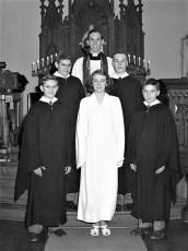 Luth. Ch. Confirmation E. Bathrick, J. Halterman 3rd, G. Jensen, Ms. E. Slater, R. Stier 1950