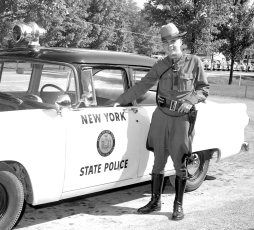 NYS Troopers with new patrol car 1955