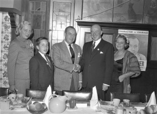Democrats at St. Charles welcome N.Y.C. Mayor Wagner Hudson 1956