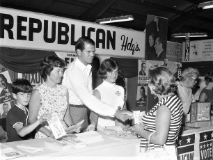 Hamilton Fish and Family at Dutchess Cty. Fair Republican Booth 1968