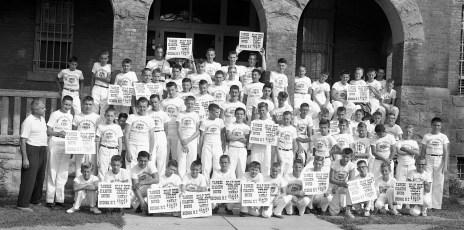 Soap Box Derby boys Yankee Stadium Bound 1959