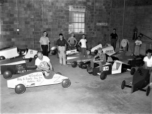 Soap Box Derby check-in over 90 entries 1960