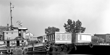 Chief Taghkanic Diner arriving by barge in Hudson 1964 (3)