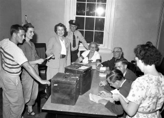 Voting for New Fire Truck Tracy Memorial Hall Chatham 1956