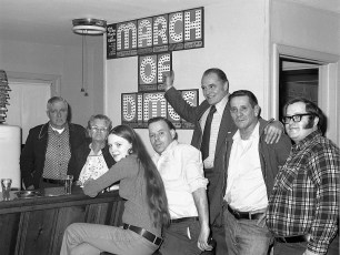 Clermont March of Dimes Chairman Guido Ziliani at Cross's Tavern 1975
